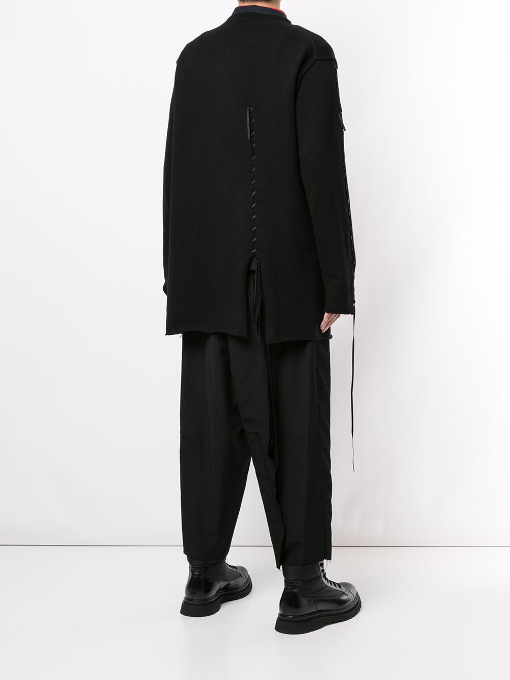 YOHJI YAMAMOTO POUR HOMME MEN LEATHER CORD STRING SWEATER