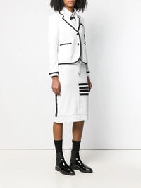 THOM BROWNE WOMEN SUIT IN CLASSIC LOOP BACK WITH ENGINEERED 4 BAR WITH BLACK GROSGRAIN TIPPING AND 4 BAR STRIPE