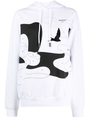 OFF WHITE WOMEN CLOUDS ALLOVER HOODIE
