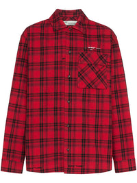 OFF-WHITE MEN FLANNEL CHECK SHIRT
