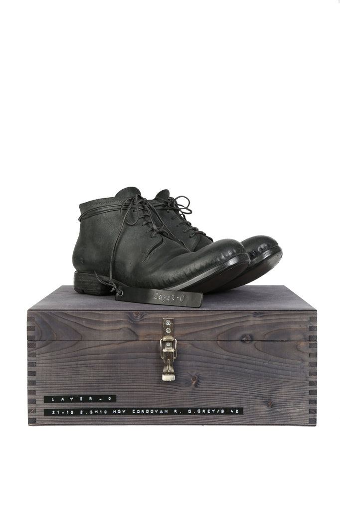 LAYER-0 MEN SPECIAL REVERSED CORDOVAN ANKLE BOOTS WITH WOODEN BOX