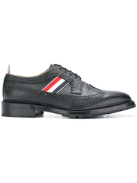 THOM BROWNE MEN CLASSIC LONGWING BROGUE W/ RWB WEBBING INSERT AND COMMANDO SOLE IN PEBBLE GRAIN