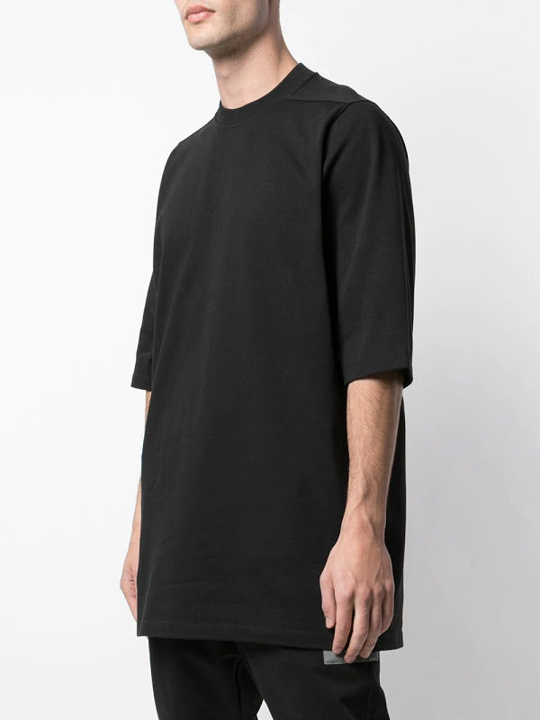 RICK OWENS MEN KNITTED CREWNECK T-SHIRT WITH UFW PATCH