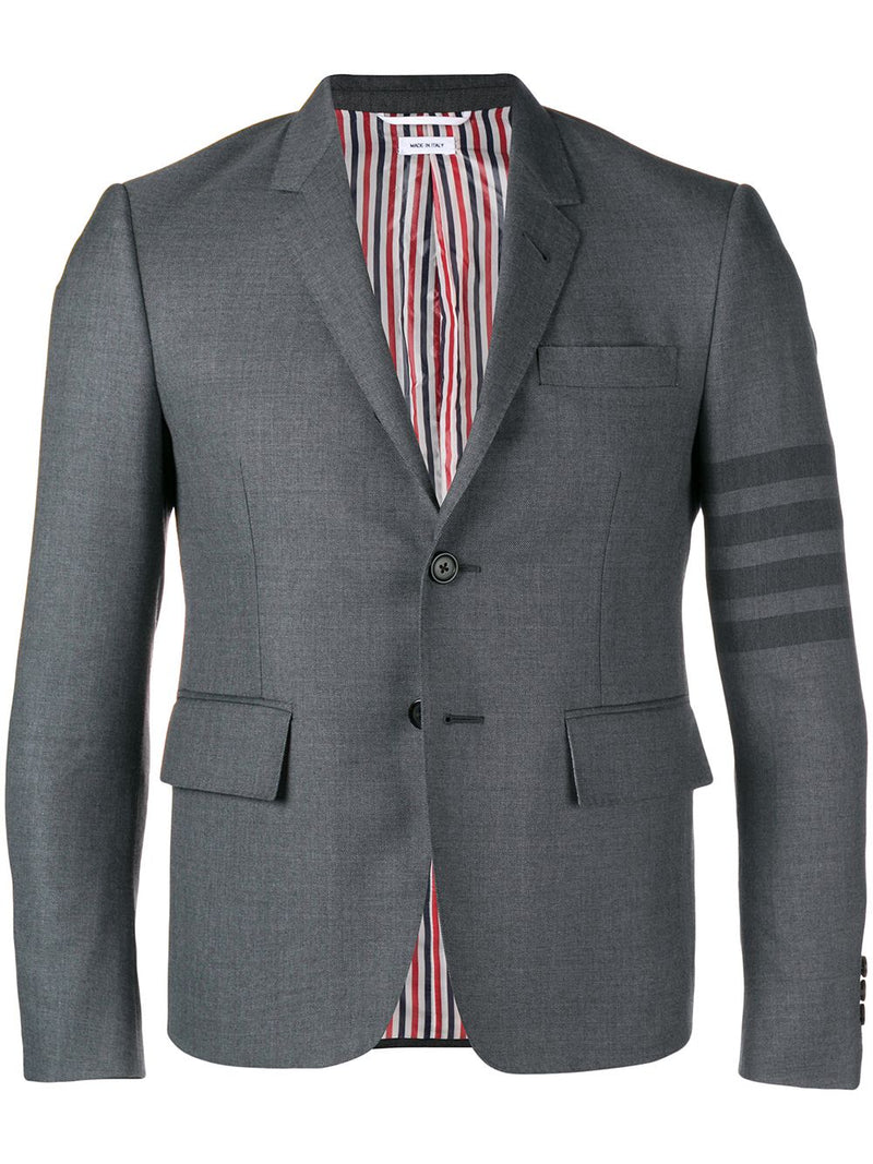 THOM BROWNE MEN HIGH ARMHOLE JACKET IN WOVEN 4 BAR STEEP TWILL SCHOOL UNIFORD