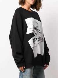 MAISON MARGIELA WOMEN CRINKLED LOGO SWEATSHIRT