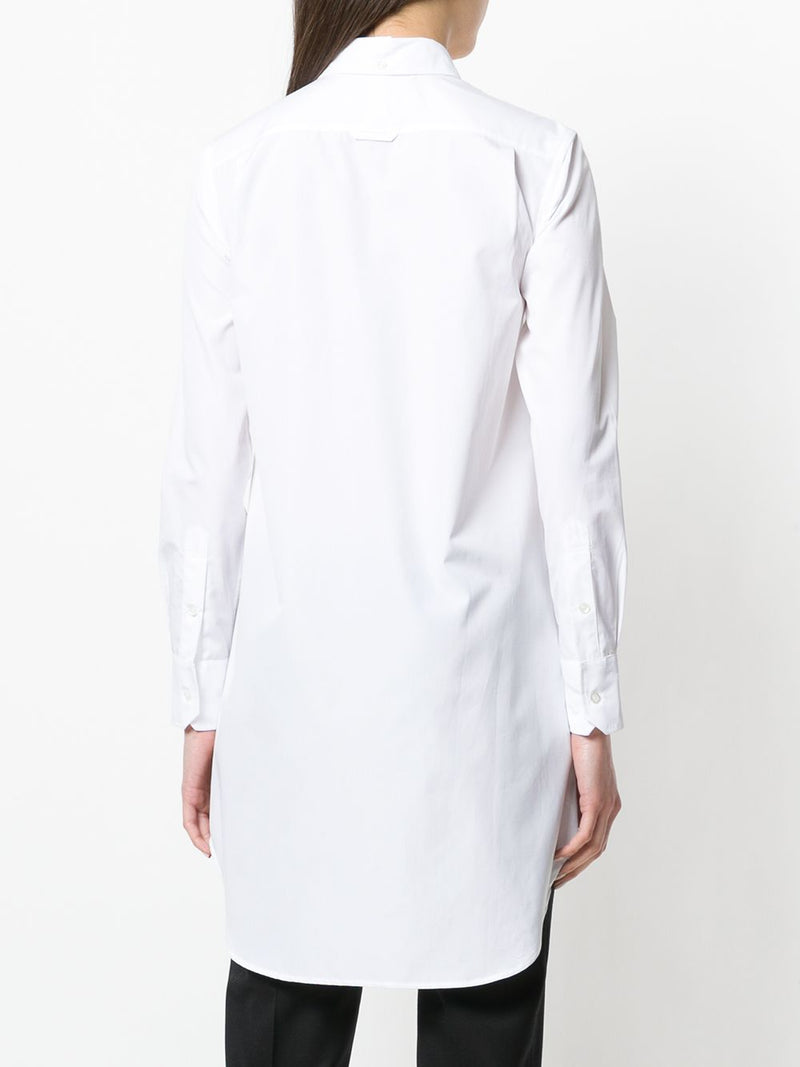 THOM BROWNE WOMEN THIGH LENGTH LONG SLEEVE POINT COLLAR SHIRTDRESS WITH GG PLACKET IN SOLID POPLIN