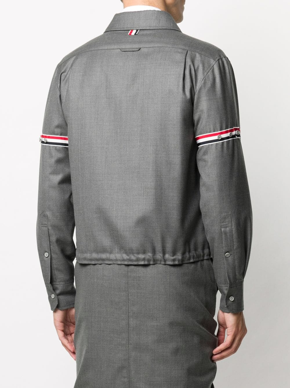 THOM BROWNE MEN ZIP UP SHIRT W/ RWB ARMBAND SLEEVES IN SUPER 120'S TWILL