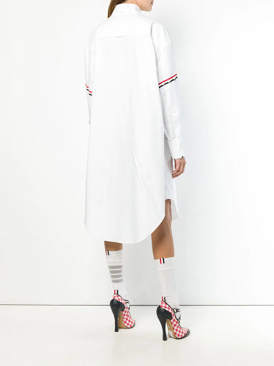 THOM BROWNE WOMEN 200% SHIRT W/ RWB GG ARMBANDS IN OXFORD