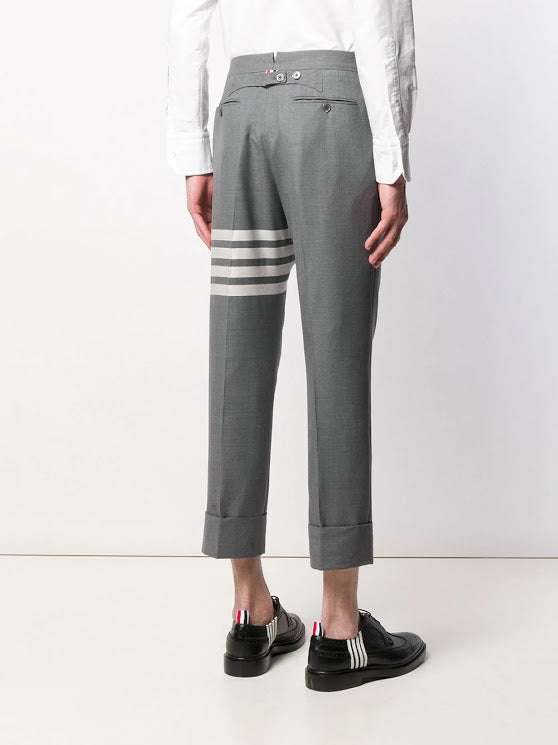 THOM BROWNE MEN CLASSIC BACKSTRAP TROUSER IN ENGINEERED 4 BAR PLAIN WEAVE SUITING