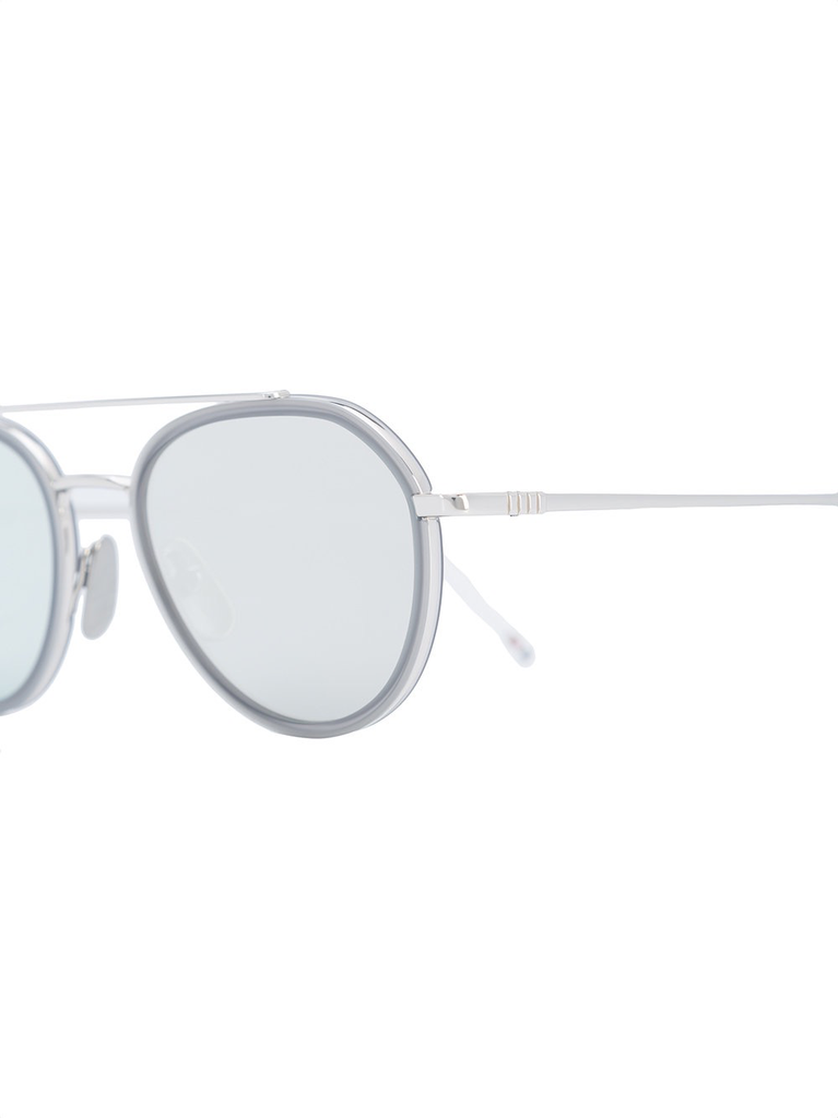 6a364fc446b THOM BROWNE DITA EYEWEAR TB-801 SHINY SILVER - SATIN CRYSTAL GREY WITH DARK  GREY