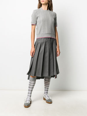 THOM BROWNE WOMEN SQUARE NECK SHORT SLEEVE TEE W/ RWB TIPPING STRIPE IN VARIEGATED RIB