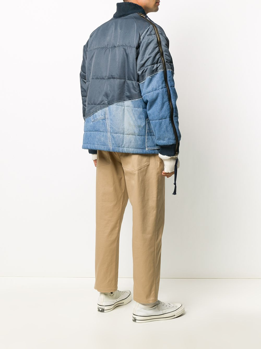 GREG LAUREN MEN WASHED SATIN 50/50 RETRO PUFFY KIMONO AIR FORCE JACKET