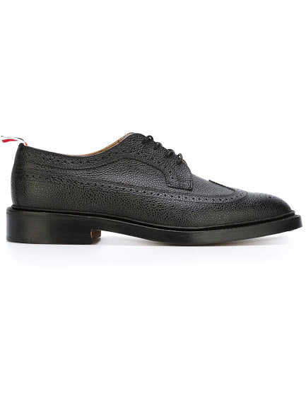 THOM BROWNE MEN CLASSIC LONGWING BROGUE W/ LEATHER SOLE IN PEBBLE GRAIN