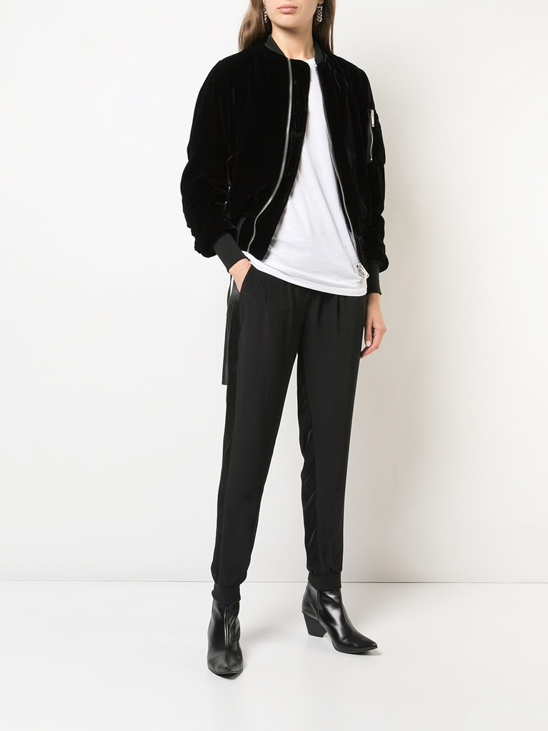 UNRAVEL WOMEN VELVET BASIC BOMBER JACKET