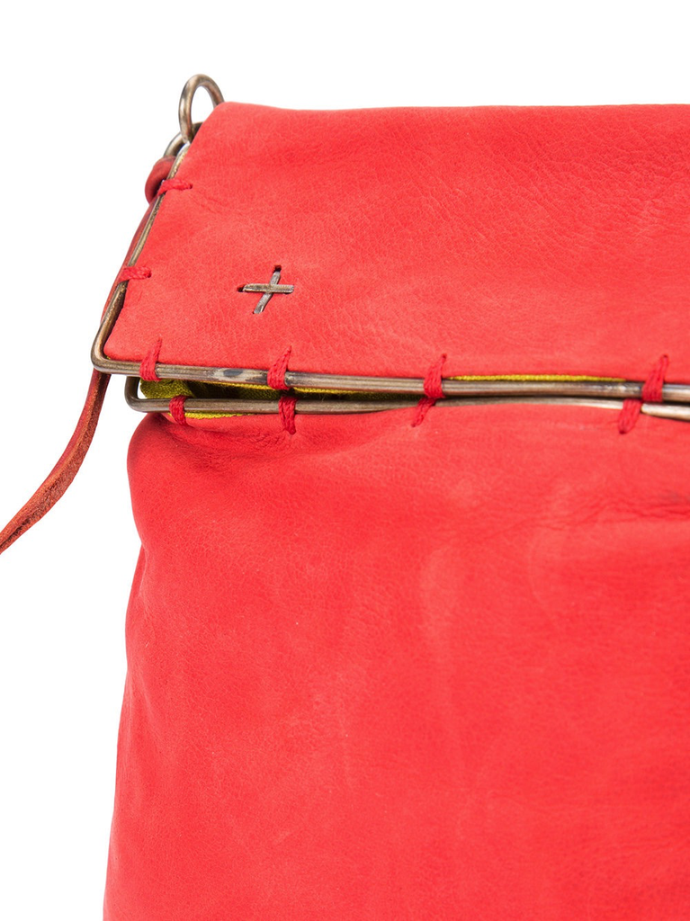 MA+ SMALL SILVER RIM MESSENGER BAG RED