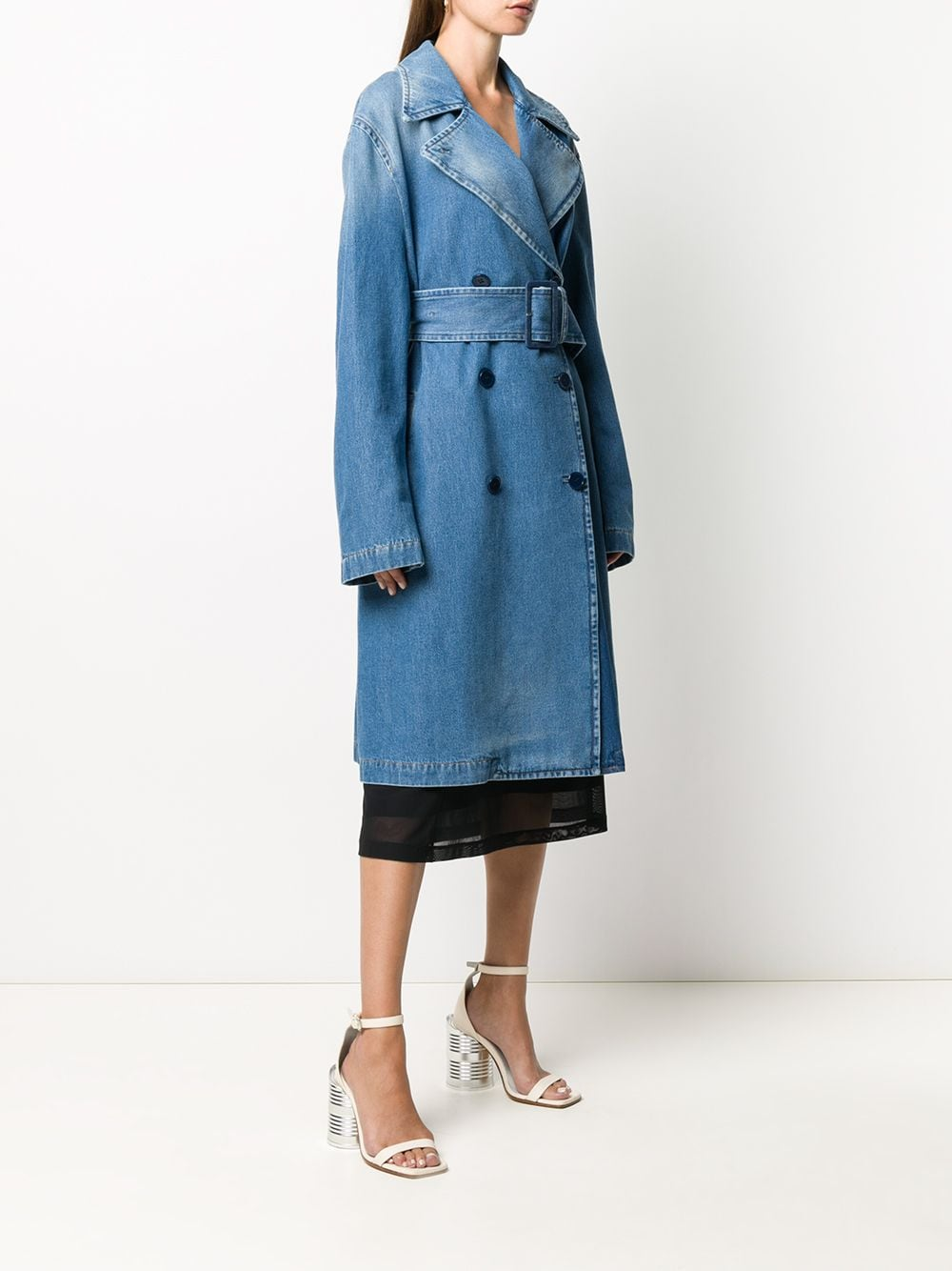 MM6 WOMEN LONG DENIM TRENCH COAT