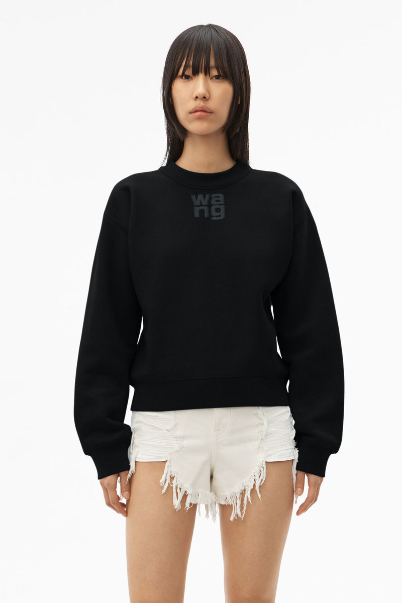 T BY ALEXANDER WANG WOMEN  FOUNDATION TERRY CREWNECK SWEATSHIRT WITH LOGO