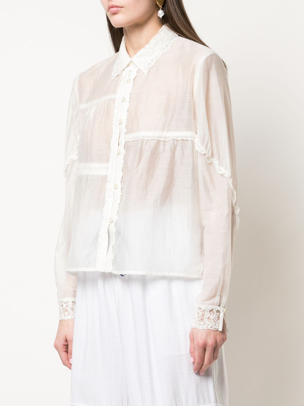 RENLI SU WOMEN BUTTON DOWN SHIRT WITH LACE TRIMMINGS