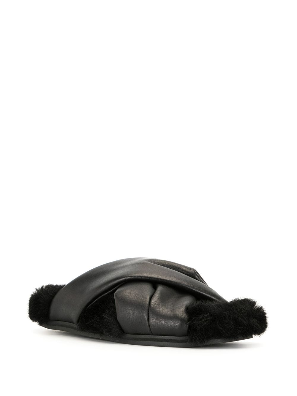 SIMONE ROCHA WOMEN 13MM CROSS STRAP SLIDE WITH FUR LINING