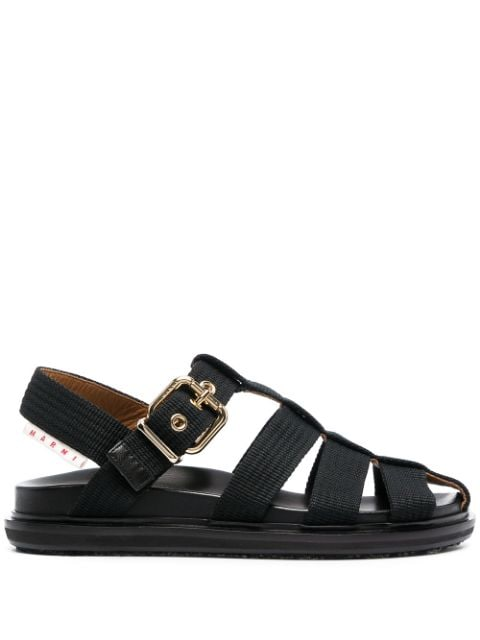 MARNI WOMEN BUCKLED FLAT SANDALS