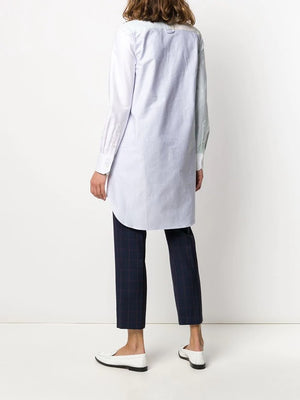 THOM BROWNE WOMEN FUNMIX CLASSIC LONG SLEEVE THIGH LENGTH WITH ROUND COLLAR SHIRTDRESS IN UNIVERSITY STRIPE OXFORD SHIRT DRESS