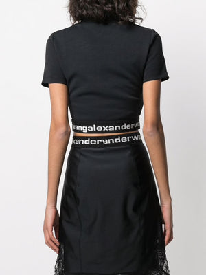 T BY ALEXANDER WANG WOMEN BABY TEE WITH LOGO ELASTIC