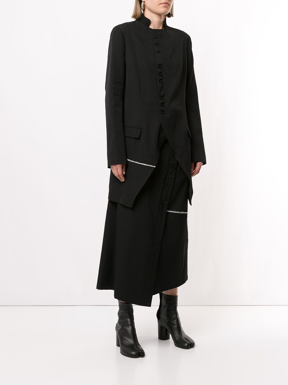 Y'S WOMEN STAND COLLAR LONG JACKET