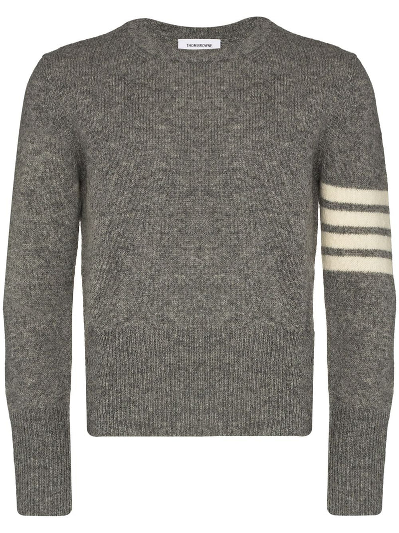 THOM BROWNE MEN JERSEY STITCH CLASSIC CREW NECK PULLOVER W/4 BAR SLEEVE IN SHETLAND WOOL