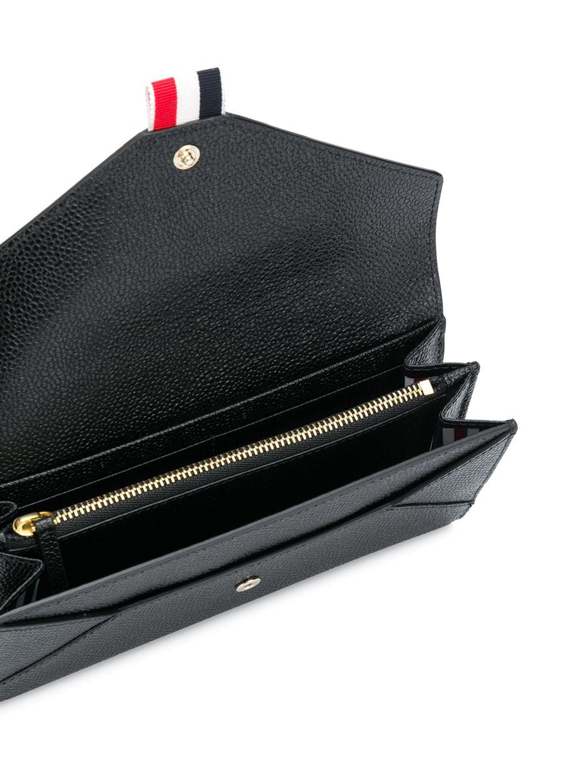 THOM BROWNE WOMEN ENVELOPE LONG WALLET WITH LONG CHAIN IN PEBBLE GRAIN