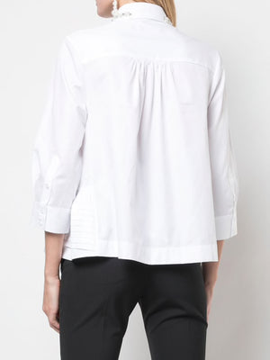 SIMONE ROCHA WOMEN PIN TUCKS SHIRT BEADED