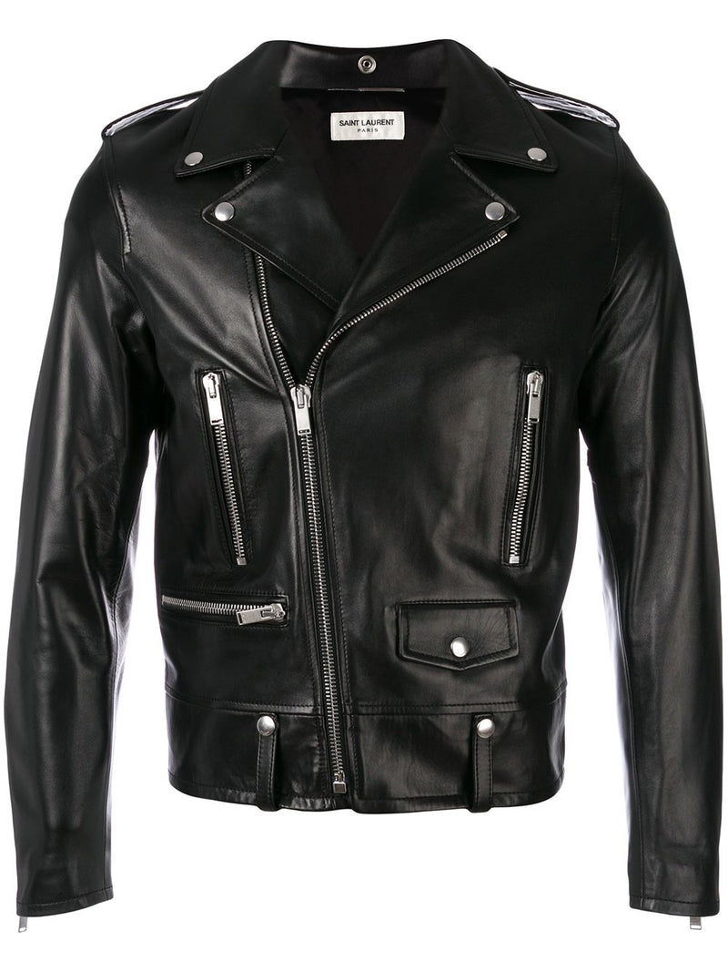 SAINT LAURENT BLACK NAPPA LEATHER ZIPPED BIKER JACKET