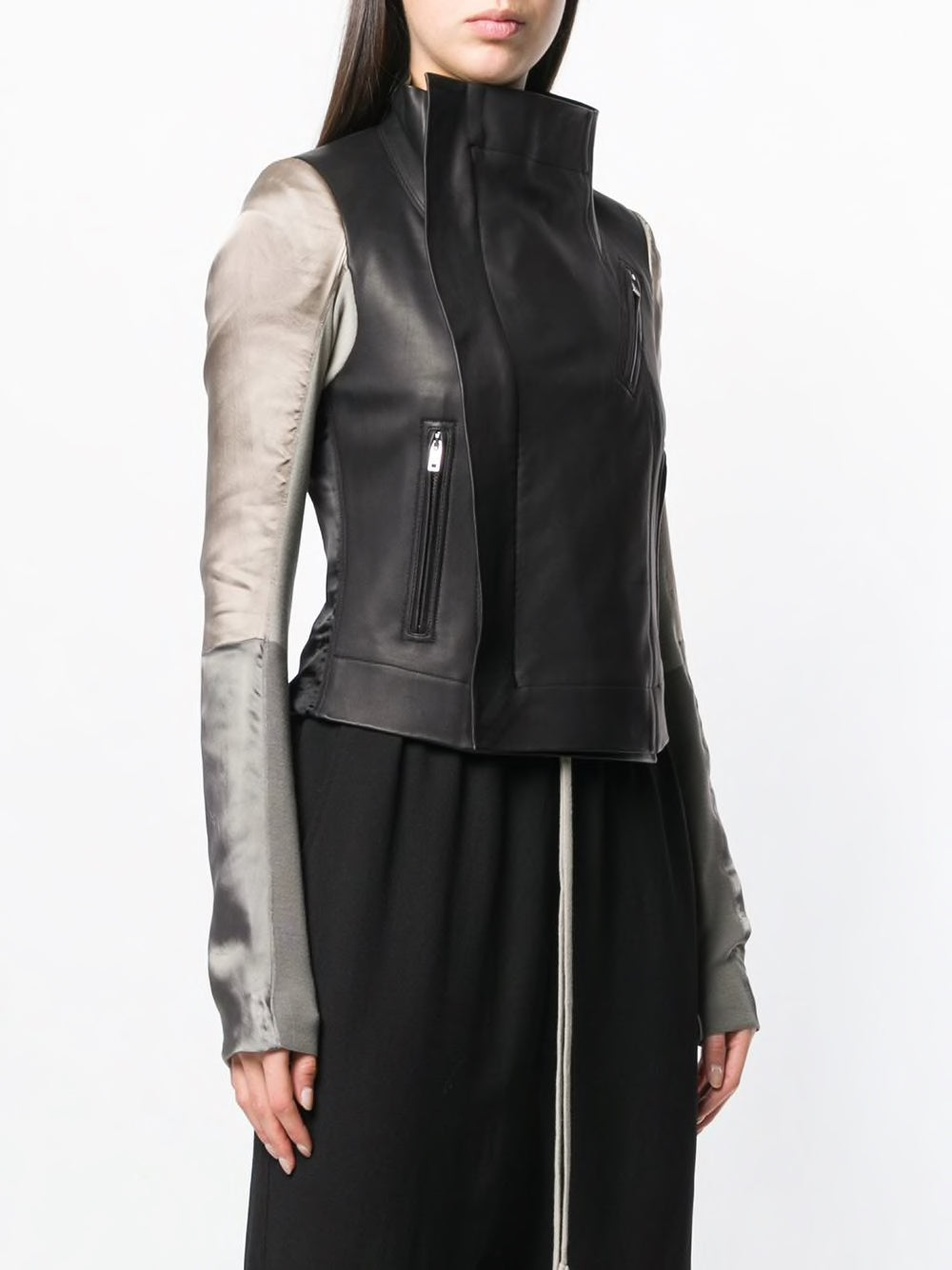 RICK OWENS WOMEN COMBO LEATHER BIKER JACKET