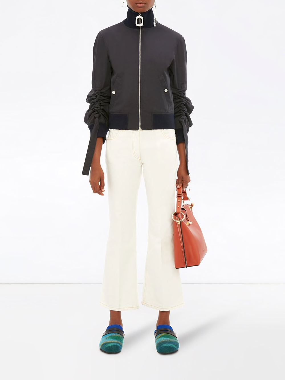 JW ANDERSON WOMEN JWA NECKBAND GATHERED SLEEVE BOMBER