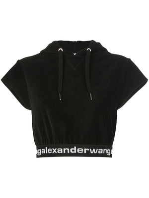 ALEXANDER WANG WOMEN STRETCH CORDUROY CAP SLEEVE HOODIE WITH LOGO ELASTIC