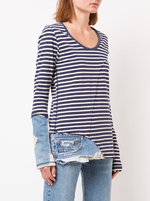 GREG LAUREN WOMEN NAVY AND CREAM STRIPE MIXED MEDIA SLIM FIT TEE