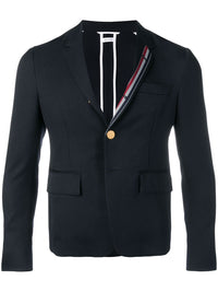 THOM BROWNE UNCONSTRUCTED HIGH ARMHOLE SB SPORT COAT WITH RWB STRIPE IN SCHOOL UNIFORM CAV TWILL
