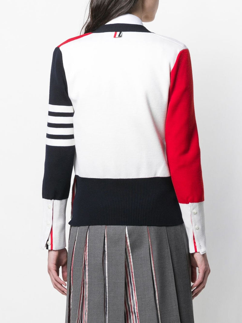 THOM BROWNE WOMEN FUN MIX MILANO STITCH CLASIC V NECK CARDIGAN IN FINE MERINO WOOL WITH 4 BAR