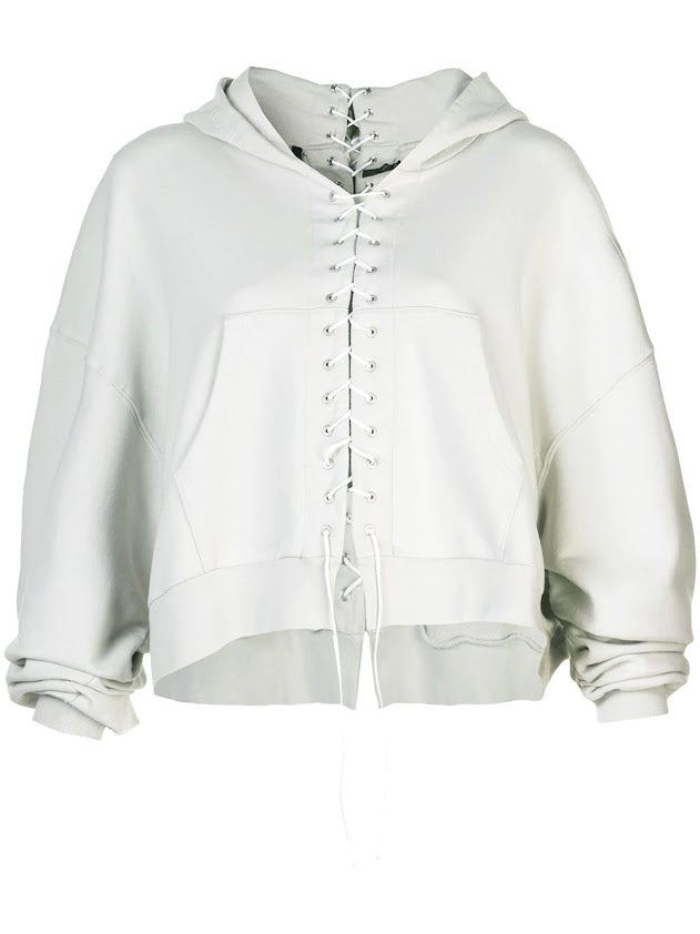 UNRAVEL PROJECT WOMEN FRENCH TERRY LACE UP HOODIE