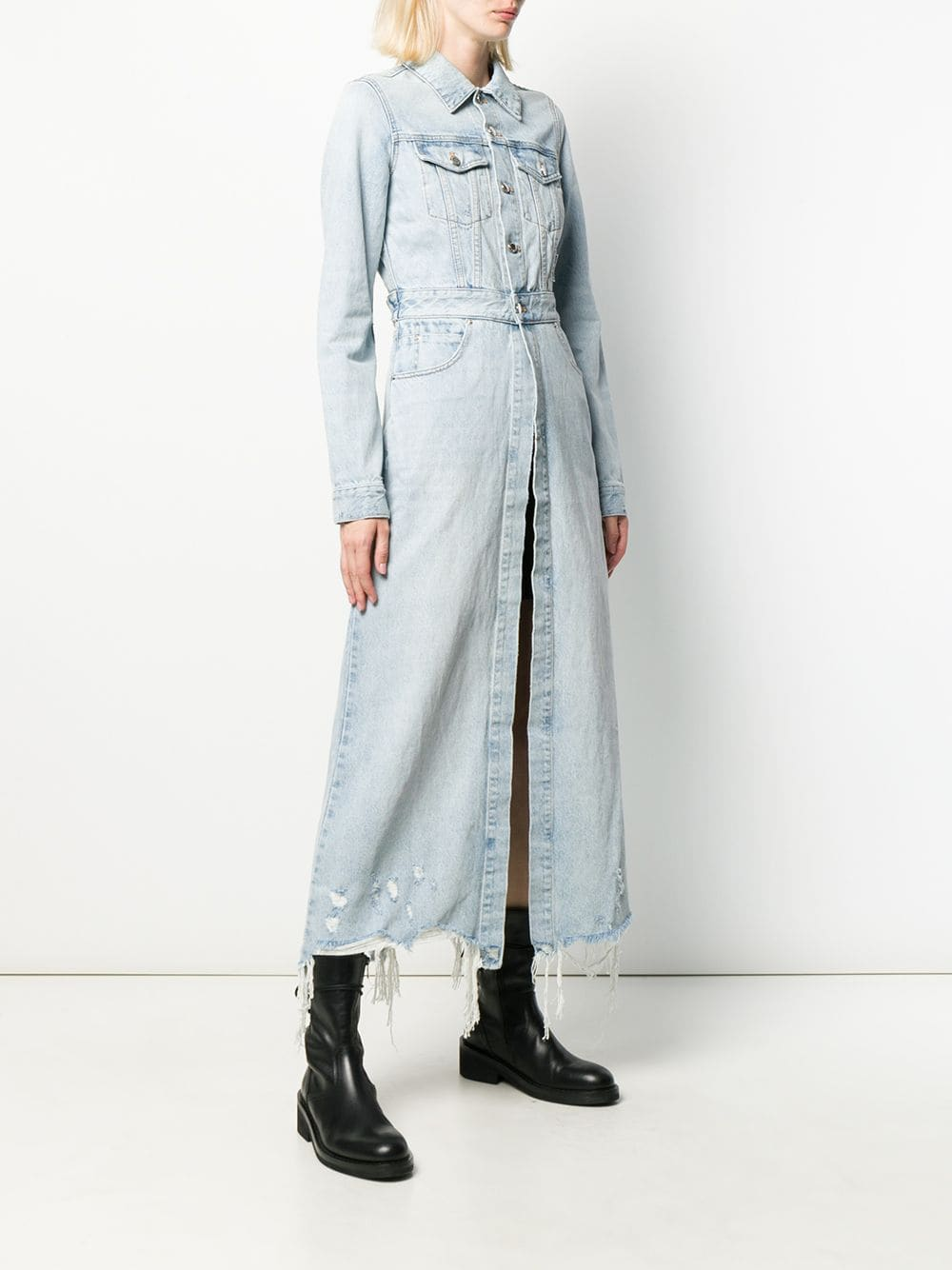 ALEXANDER WANG WOMEN FITTED DENIM TRENCH COAT