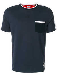 THOM BROWNE MEN BICOLOR 1/2 and 1/2 SS TEE IN MEDIUM WEIGHT JERSEY COTTON