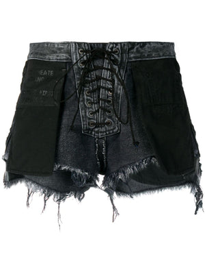 UNRAVEL WOMEN STONE 10 REVERSE LACE UP DENIM SHORTS