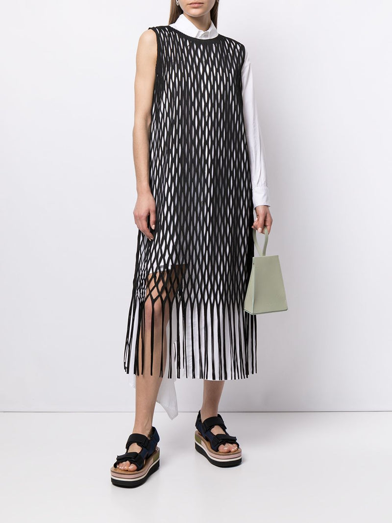 ISSEY MIYAKE WOMEN NETTING COLORS FRINGE DRESS
