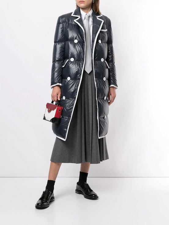 THOM BROWNE WOMEN DOUBLE BREASTED DOWNFILL WIDE LAPEL OVERCOAT WITH GG TIPPING IN SATIN FINISH