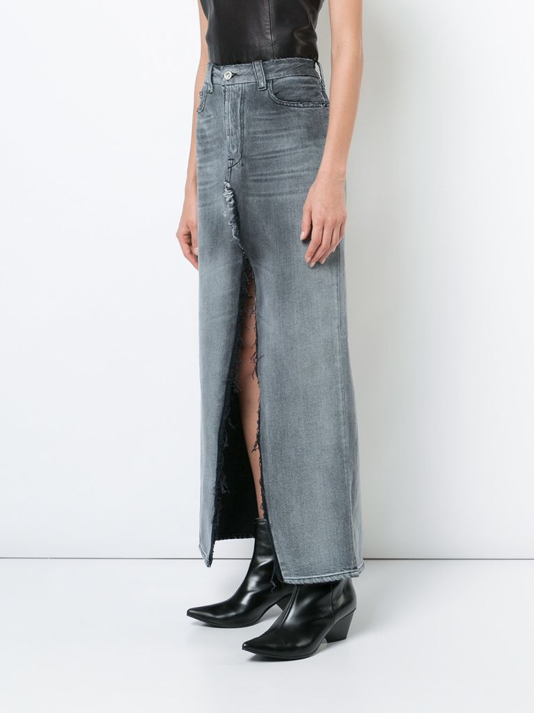 UNRAVEL WOMEN RIGID DENIM DECONSTRUCTED LONG SKIRT