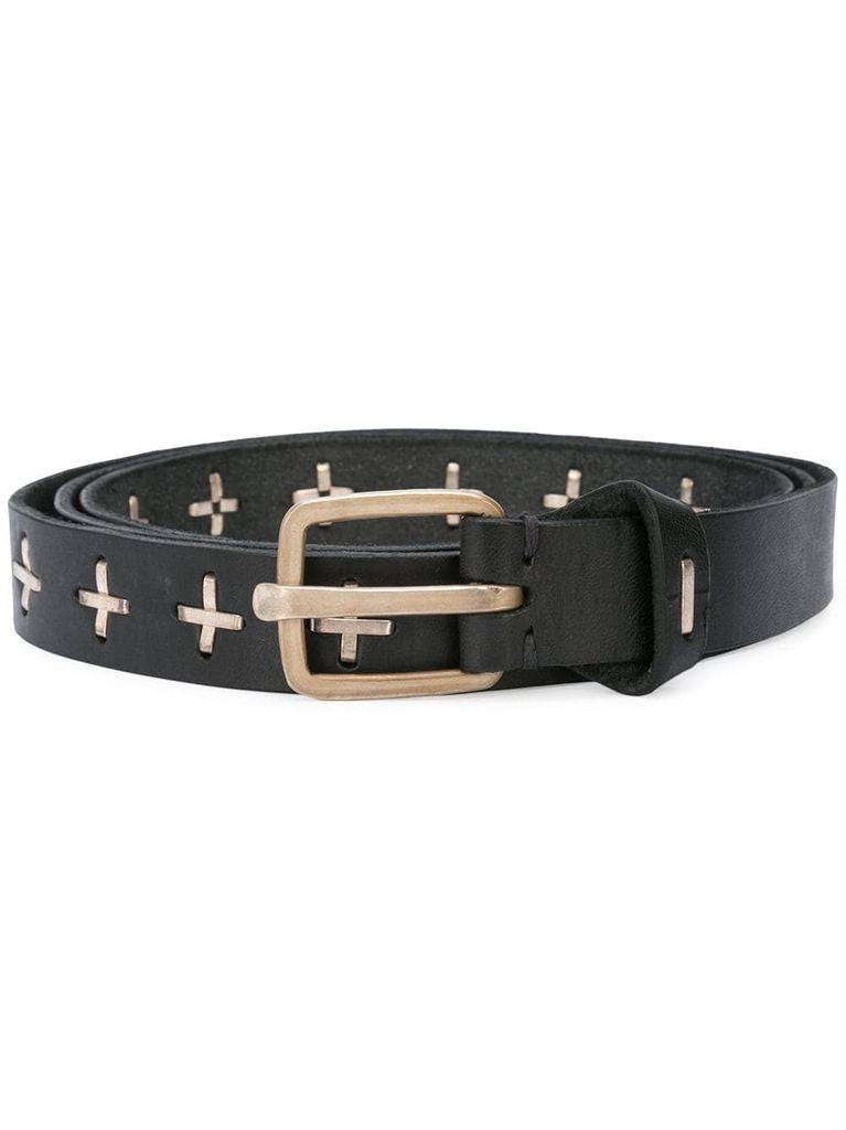 "MA+ ""+"" STUDDED Q BUCKLE MED BELT"