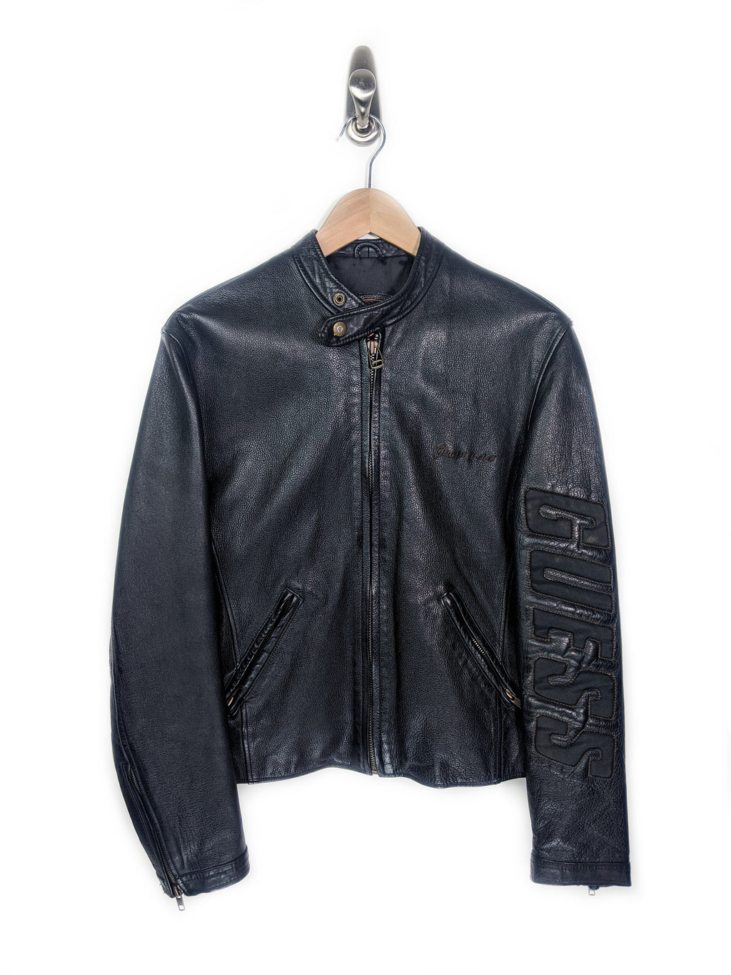 Guess Leather Motorcycle Jacket (S)