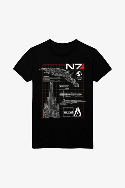 Mass Effect Normandy Blueprint T-Shirt Men