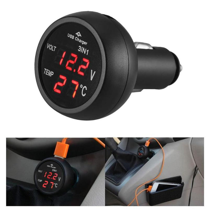 3 in 1 12/24V Voltmeter Car Monitor Display USB Charging Charger For Phone Tablet GPS LED Digital Voltmeter Gauge Thermometer