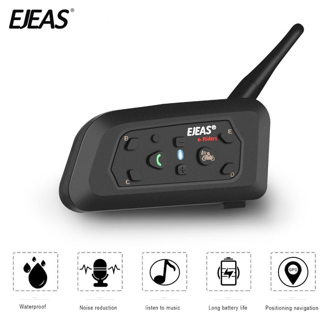 EJEAS V6 Pro 1200m Helmet Intercom Bluetooth Headset Microphone Kit 6 Riders 1200m Music GPS Interfono Moto