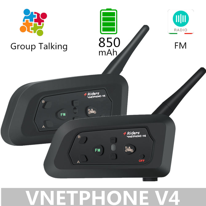 2PCS VNETPHONE V4 850Mah Bluetooth Motorcycle Intercom Helmet Headset Speaker Talking Wireless Communicator With FM